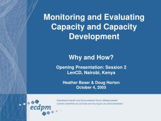 Monitoring and Evaluating Capacity and Capacity Development