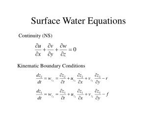 Surface Water Equations