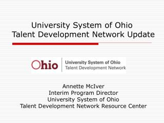 university system of ohio  talent development network update