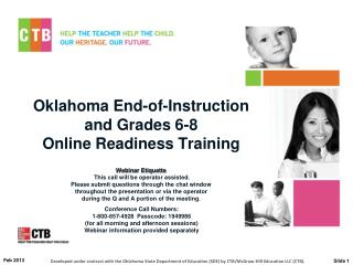Oklahoma End-of-Instruction  and Grades 6-8 Online Readiness Training