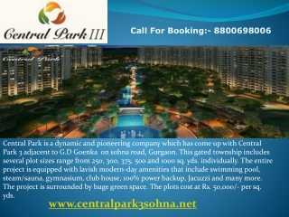 Central Park 3 Plots @ 8800698006 Central Park 3 Sohna Road