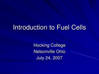 Introduction to Fuel Cells