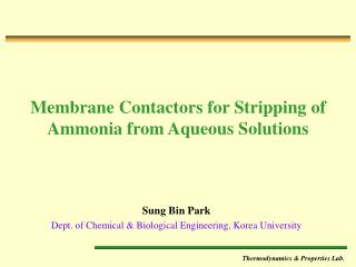 Membrane Contactors for Stripping of Ammonia from Aqueous Solutions