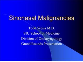 sinonasal malignancies