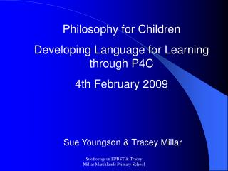 SueYoungson EPBST  Tracey Millar Marshlands Primary School