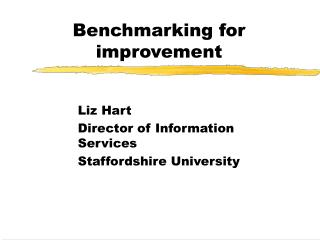 Benchmarking for improvement