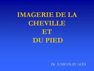 IMAGERIE DE LA CHEVILLE ET  DU PIED
