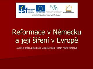 Reformace v Nemecku a jej    ren  v Evrope