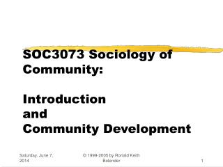SOC3073 Sociology of Community:  Introduction and Community Development