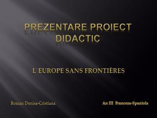 Prezentare Proiect didactic