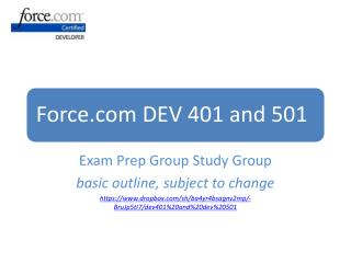 Exam Prep Group Study Group basic outline, subject to change https: