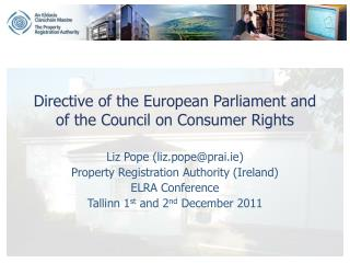 Directive of the European Parliament and of the Council on Consumer Rights