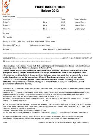 FICHE INSCRIPTION Saison 2012