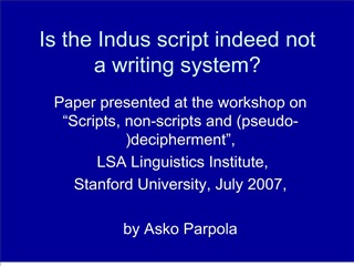 is the indus script indeed not a writing system