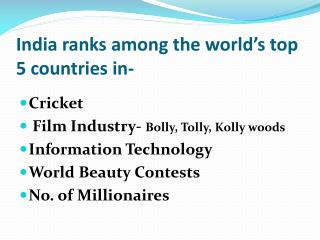 India ranks among the world