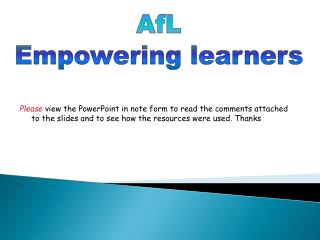 AfL Empowering learners