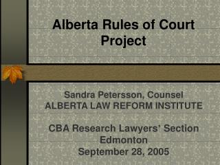 Alberta Rules of Court Project