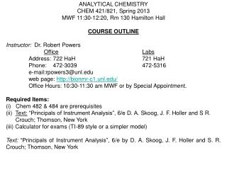 ANALYTICAL CHEMISTRY CHEM 421