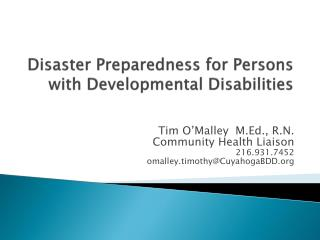Disaster Preparedness for Persons with Developmental Disabilities