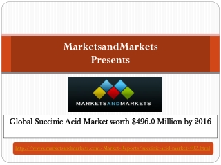 Global Succinic Acid Market worth $496.0 Million by 2016