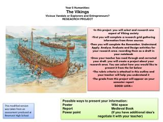 Year 8 Humanities: The Vikings Vicious Vandals or Explorers and Entrepreneurs  RESEACRCH PROJECT
