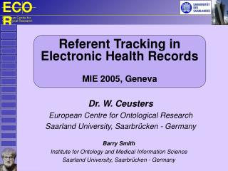 Referent Tracking in Electronic Health Records  MIE 2005, Geneva