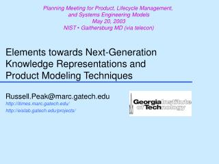 elements towards next-generation  knowledge representations and  product modeling techniques