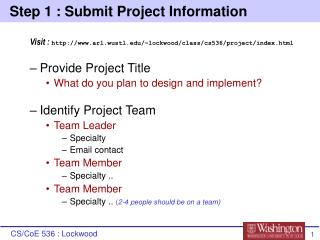 Step 1 : Submit Project Information