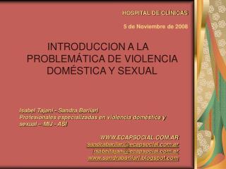 HOSPITAL DE CL NICAS    5 de Noviembre de 2008