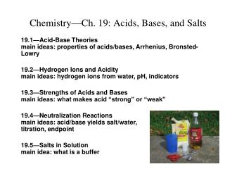 Chemistry Ch. 19: Acids, Bases, and Salts