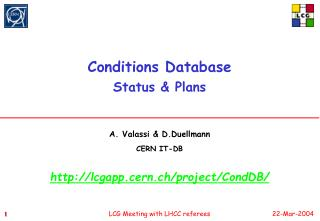 Conditions Database  Status  Plans