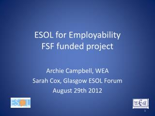 ESOL for Employability  FSF funded project