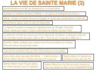 LA VIE DE SAINTE MARIE 3