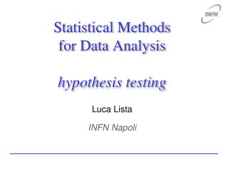 Statistical Methods for Data Analysis  hypothesis testing