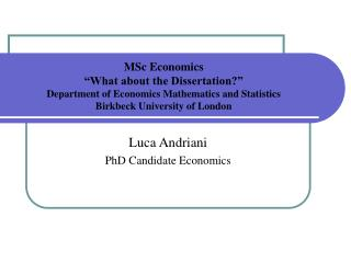 MSc Economics   What about the Dissertation   Department of Economics Mathematics and Statistics  Birkbeck University of