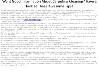 4Want Good Information About Carpeting Cleaning
