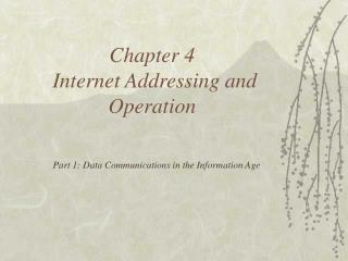 chapter 4  internet addressing and operation