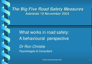 the big five road safety measures adelaide 19 november 2003