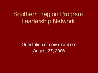 Southern Region Program Leadership Network