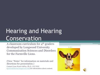 Hearing and Hearing Conservation