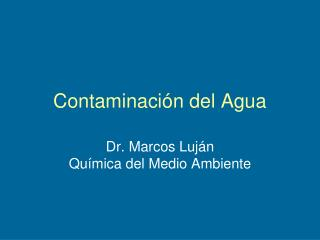 Contaminaci n del Agua