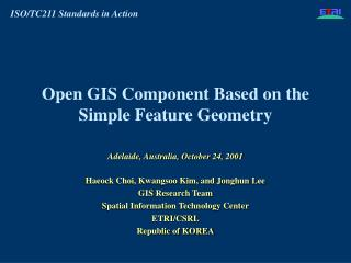 open gis component based on the simple feature geometry