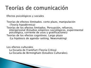 Teor as de comunicaci n