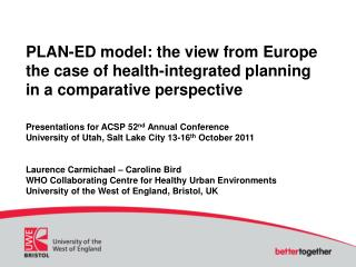 PLAN-ED model: the view from Europe the case of health-integrated planning  in a comparative perspective