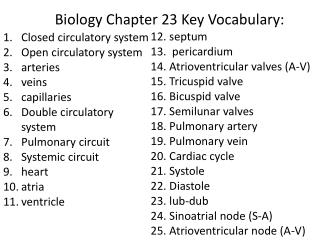 Biology Chapter 23 Key Vocabulary: