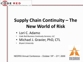 Supply Chain Continuity   The New World of Risk