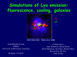 Simulations of Lya emission: fluorescence, cooling, galaxies