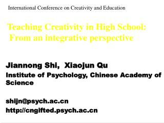 Teaching Creativity in High School:  From an integrative perspective