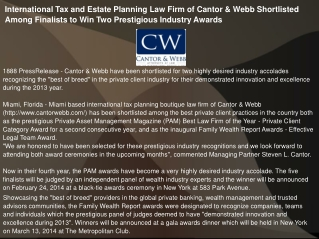 International Tax and Estate Planning Law Firm of Cantor