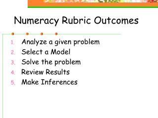 Numeracy Rubric Outcomes
